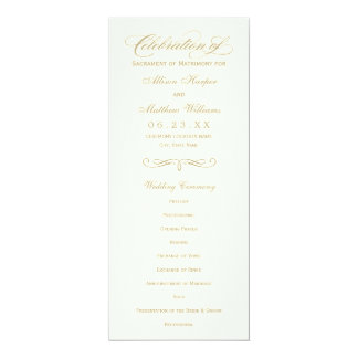 Wedding Program Panel | Gold Calligraphy Design Card