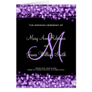 Wedding Program Party Sparkles Purple Greeting Card