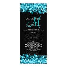 Wedding Program Party Sparkles Turquoise 4x9.25 Paper Invitation Card