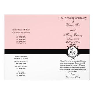 Wedding Program Pink Chic Monogrammed