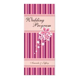 Wedding Program | Pink Floral Line 4x9.25 Paper Invitation Card