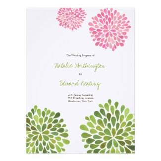 Wedding Program Pink Red Yellow Flower Blooms Personalized Invitations