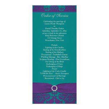Wedding Program | PRINTED RIBBON Purple, Teal Customized Rack Card