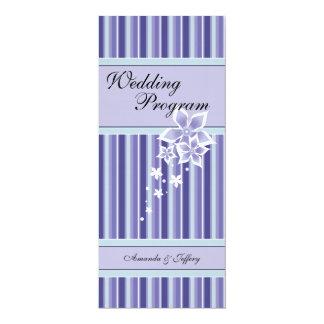 Wedding Program | Purple & Blue Floral Line 4x9.25 Paper Invitation Card