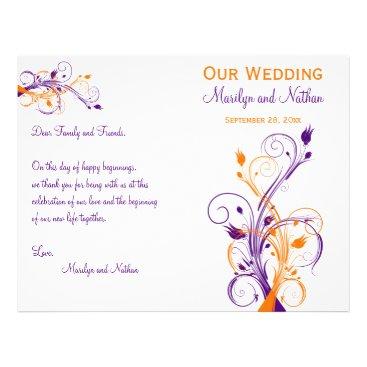 "Wedding Program | Purple Orange White| Floral 8.5"" X 11"" Flyer"