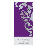 Wedding Program - Purple Silver Sparkle Swirl Rack Card