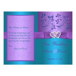 Wedding Program | Purple, Turquoise Floral Hearts