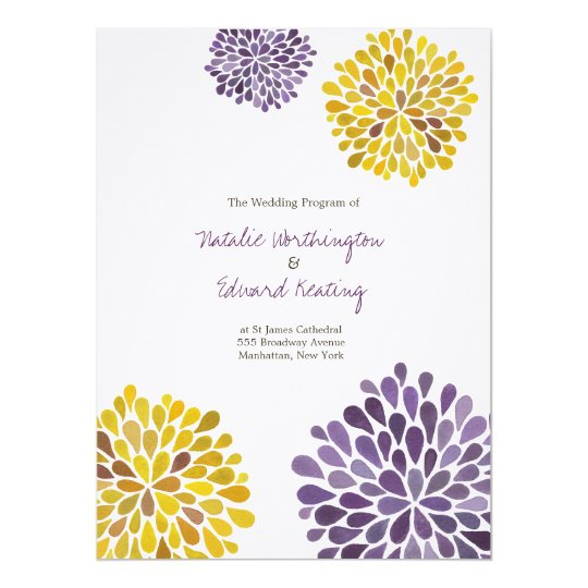 Wedding Program Purple Yellow Watercolor Dahlias