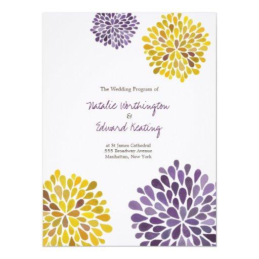 Wedding Program Purple Yellow Watercolor Dahlias 6.5x8.75 Paper Invitation Card