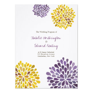 Wedding Program Purple Yellow Watercolor Dahlias Card