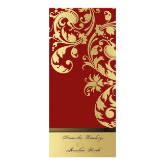 Wedding Program - Red & Gold Shimmer Floral Rack Card
