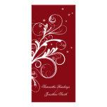 Wedding Program Red White Floral Elegant Swirl Rack Card
