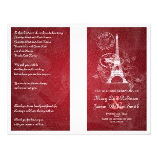 Wedding Program Romantic Paris Red