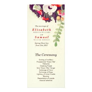 Wedding Program Romantic Red White Floral Art Full Color Rack Card