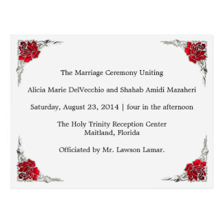 Wedding Program Shalicia Postcard