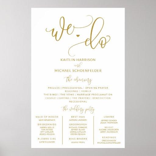 Wedding Program Sign Size Gold Calligraphy