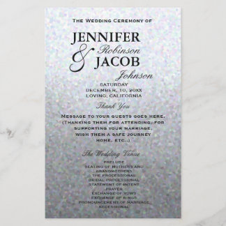 Wedding Program | Soft Silver Glitter Look