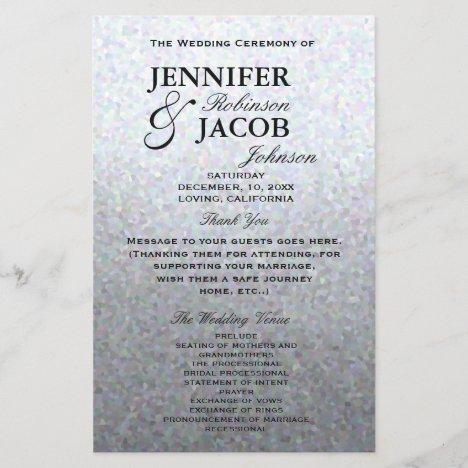 Wedding Program   Soft Silver Glitter Look