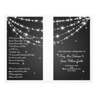 Wedding Program Sparkling Chain Black