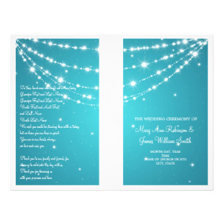 Wedding Program Sparkling Chain Blue