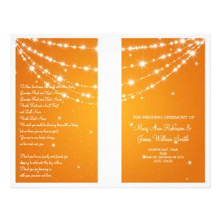 Wedding Program Sparkling Chain Orange