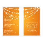"""Wedding Program Sparkling Chain Orange 8.5"""" X 11"""" Flyer"""