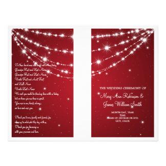 Wedding Program Sparkling Chain Red