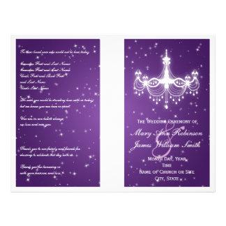 Wedding Program Sparkling Chandelier Purple