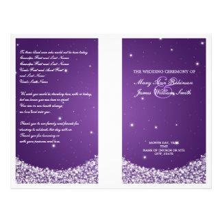Wedding Program Star Sparkle Purple