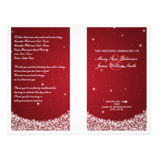 Wedding Program Star Sparkle Red