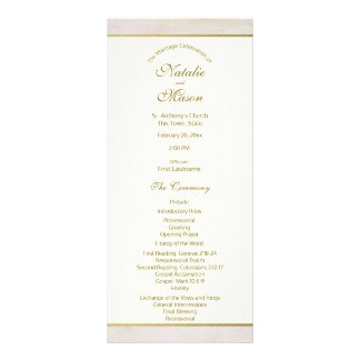 Wedding Program Stone and Gold Accent