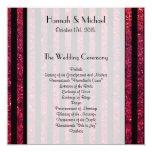 "Wedding Program - Stripes, Lines, Glitter - Red 5.25"" Square Invitation Card"
