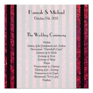 Wedding Program - Stripes, Lines, Glitter - Red Custom Announcements