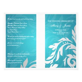 Wedding Program Swirly Flourish Aqua Blue