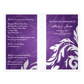 Wedding Program Swirly Flourish Purple