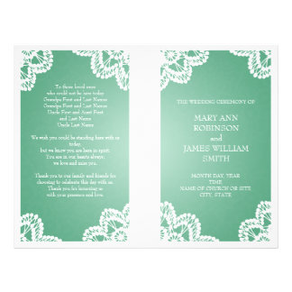 Wedding Program  Vintage Lace Mint Green