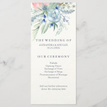 Wedding Program with Blue and Pink Peonies