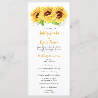 Wedding Program Yellow Sunflower Watercolor Floral