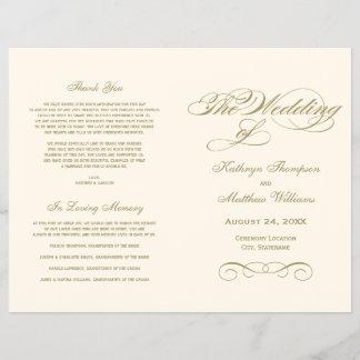 Wedding Programs   Antique Gold Calligraphy Design