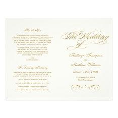 Wedding Programs   Antique Gold Calligraphy Design at Zazzle