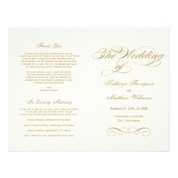 Wedding Programs | Antique Gold Calligraphy Design