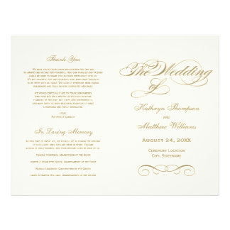 Wedding Programs | Antique Gold Calligraphy Design