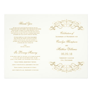 Wedding Programs | Antique Gold Flourish