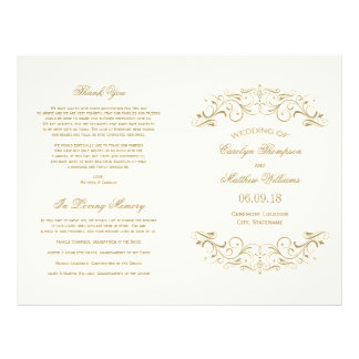 Wedding Programs | Antique Gold Flourish