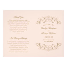 Wedding Programs | Antique Gold Flourish at Zazzle