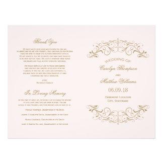 Wedding Programs   Antique Gold Flourish Flyers