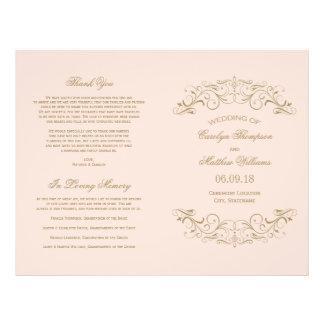 Wedding Programs | Antique Gold Flourish Full Color Flyer