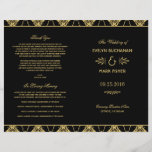"""Wedding Programs   Art Deco Style<br><div class=""""desc"""">Elegant and glamorous wedding ceremony programs inspired by vintage art deco style and the roaring twenties. Black background color with gold design. Personalize the custom text for your bridal party,  ceremony information,  and thank you message. Note: these text weight paper programs arrive flat and require folding to assemble.</div>"""