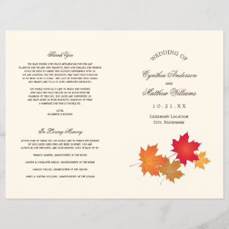Wedding Programs | Autumn Leaves