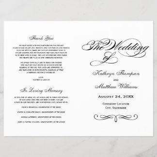 Wedding Programs   Black and White Calligraphy